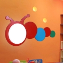 Cartoon Caterpillar LED Wall Lamp Kindergarten Wooden Wall Mount Fixture in Red