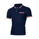 Fashion Contrast Striped Trim Rib Collar Short Sleeve Casual Polo Shirt for Men