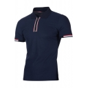 Simple Striped Trim Short Sleeve Half-Zip Collar Men's Regular Fit Polo Shirt