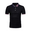 Summer Unique Flag Print Collar Stripe Trim Short Sleeve Slim Fit Polo Shirt
