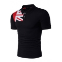 New Trendy Flag Printed Short Sleeve Men's Slim Fitted Stretch Polo Shirt