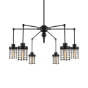 Swing Armed 6 Lighted Black Finished Large LED Chandelier