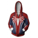 Cosplay Costume Printed Long Sleeve Full Zip Blue and Red Hoodie