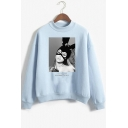 New Trendy Popular Singer Figure Print Mock Neck Long Sleeve Pullover Loose Sweatshirt