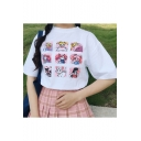 Cartoon Sailor Moon Print Half-Sleeved Loose Fitted T-Shirt for Girls