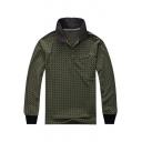 Retro Green Fashion Allover Pattern Long Sleeve Cotton Casual Loose Polo for Men