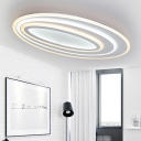 Metallic Ellipse Indoor Lighting Fixture Nordic Style LED Flush Ceiling Light in White for Coffee Shop