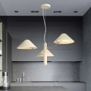 Triple Heads Mushroom Hanging Lamp Modernism Nordic Style Metal Chandelier Light in White
