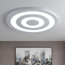 White Finish Target Pattern Flush Light Contemporary Metallic Ultra Thin LED Ceiling Lamp