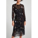 Trendy Galaxy Graffiti Round Neck Long Sleeve Midi Pleated Black A-Line Dress with Liner