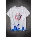 Chinese Style Wave Carp Printed Basic Short Sleeve Relaxed White T-Shirt