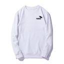 Basic Simple Letter Logo Chest Round Neck Long Sleeve Pullover Loose Sweatshirt