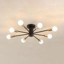 Modern Fashion Branching Lighting Fixture with Bare Bulb Metal Multi Light Ceiling Flush Mount in Gold Finish