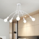 Multi Light Twisted Ceiling Lamp with Open Bulb Industrial Modern Metal Ceiling Flush Mount in White