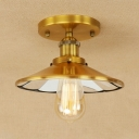 Brass/Rust Flared Ceiling Lamp Loft Style Concise Metallic Single Head Ceiling Flush Mount for Hallway