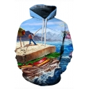 Funny 3D Cartoon Fishing On A Sandwich Long Sleeve Loose Sport Pullover Blue Hoodie