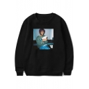 American Rapper Street Style Figure Printed Crewneck Long Sleeve Fashion Pullover Sweatshirt