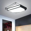 Polygon Acrylic Shade Flush Light Modern Chic LED Ceiling Fixture in Black for Hotel Hall