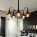 Black Curved Arm Hanging Chandelier Industrial Metallic 5 Lights Suspension Light