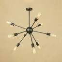 Multi Light Sputnik Chandelier Light Post Modern Metal Suspended Light in Black
