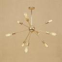 Retro Style Starburst Hanging Lamp Wrought Iron Multi Light Chandelier Lamp in Gold