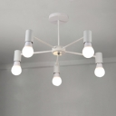 Metal Branch Style Hanging Light Fixture Minimalist 5 Bulbs Decorative Chandelier in White