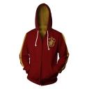 Popular Harry Potter Badge Print Chest Colorblocked Red Zip Up Hoodie