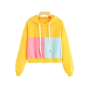 Fashion Colorblocked Patchwork Long Sleeve Loose Fitted Yellow Drawstring Hoodie