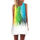 Fashion 3D Oil Painted Round Neck Sleeveless Mini White Swing Tank Dress