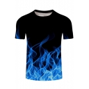 Cool 3D Blue Fire Printed Basic Short Sleeve Round Neck Black T-Shirt