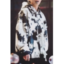 Kpop V Tae Hyung White Graffiti Cool Long Sleeve Oversized Hoodie