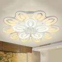Energy Saving Floral Semi Flush Mount Modern Acrylic Multi Light LED Semi Flush Light in Warm/White/Neutral