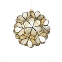 Beige Shelly Shade Pendant Light with Flower Modernism Single Light Art Deco Suspension Light