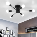 Multi Light Sputnik Semi Flush Mount Post Modern Metal Ceiling Lamp in Black for Bedroom