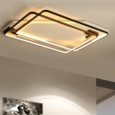 Ultra Thin Ceiling Fixture with 2 Rectangle Frame Modernism Silicon Gel LED Flush Light in Warm/White
