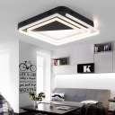 Swirl Flush Lighting with Black Triangle Canopy Post Modern Metal LED Flush Mount Light