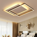 Coffee Border Flush Light Modern Chic Burnished Aluminum Surface Mount LED Light for Bedroom