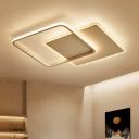 White Square LED Ceiling Light with Scalloped Edge Metallic Flush Lighting in Warm/White/Neutral