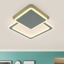 Olive Squared Flush Lighting Nordic Style Acrylic Shade LED Ceiling Fixture for Corridor