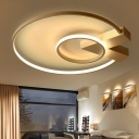 V Shape Canopy LED Ceiling Lamp with Ring Shade Modern Chic Metallic Flush Light in Gold