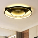 Black 2 Rings LED Ceiling Light with Triangle Canopy Modern Design Metal Flush Light Fixture