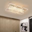 Linear Canopy Semi Flush Ceiling Light with 8/9 Geometric Frame Modern Metallic LED Ceiling Lamp