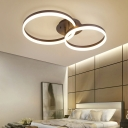Dual Ring LED Flush Ceiling Light Modern Fashion Acrylic Shade Flush Mount in Brown