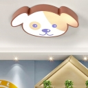 Acrylic Ceiling Lamp with Lovely Brown Dog Single Head LED Flush Mount for Kindergarten