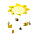 Bowl LED Flush Mount with Yellow Sunflower Children Room Acrylic Shade Flush Ceiling Light