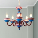 5 Heads Bare Bulb Chandelier Light with Star Boys Room Metal Suspension Light in Blue