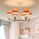 Dottie Fabric Shade Chandelier Light with Bunny White Finish 3/5 Lights Hanging Lamp for Girls Room