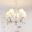 Dottie Design 5 Heads Chandelier with Pink/White Cartoon Horse Fabric Shade Hanging Light for Bedroom