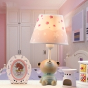 Pink Fabric Shade Table Lamp with Cute Bear Decoration Single Head Standing Desk Light for Girls Room