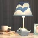 Blue Dinosaur Table Lamp Cartoon Fabric Shade Single Light Table Light for Study Room
